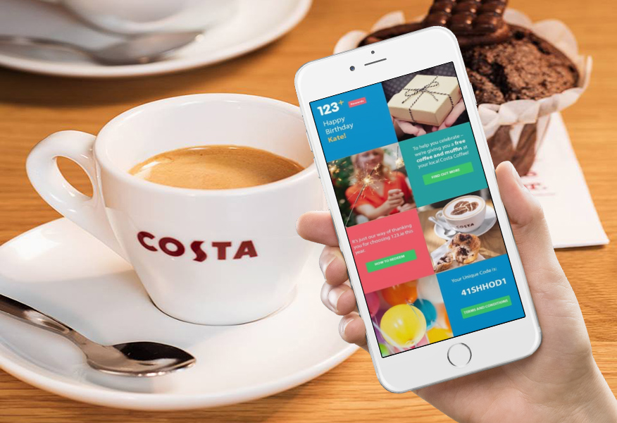 Smartphone with 123.ie Birthday sales promotion with Costa from Brandfire on screen