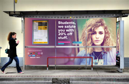 Bus shelter poster featuring Bank of Ireland Student 20 Loyalty Program by Brandfire