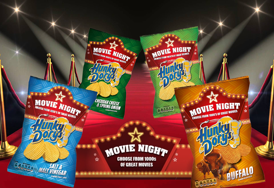 Movie background featuring Hunky Dorys packs with Movie Night Promotion by Brandfire