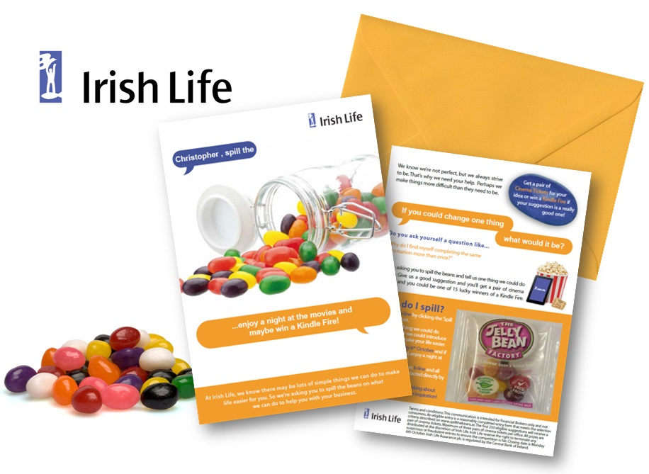 Jellybeans background with Irish Life direct mail B2B Sales Promotion campaign by Brandfire