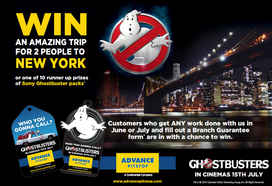 NYC background at night overlayed with Ghostbusters Sales Promotion from Advance Pitstop and Sony from Brandfire