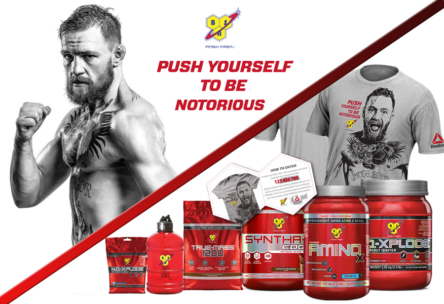 BSN Conor McGregor Sales Promotion with pack examples and t-shirt from Brandfire