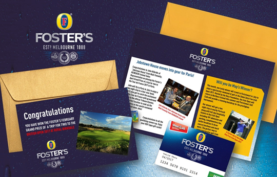 Foster's background with Foster's customer loyalty program envelope and newsletter by Brandfire