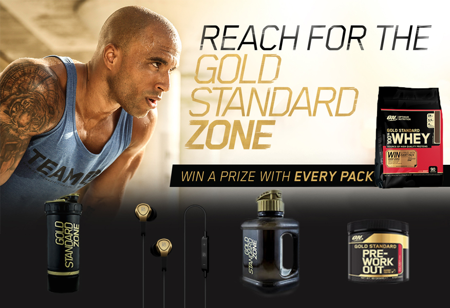 ON Gold Standard Zone Sales Promotion with pack examples and prizes from Brandfire
