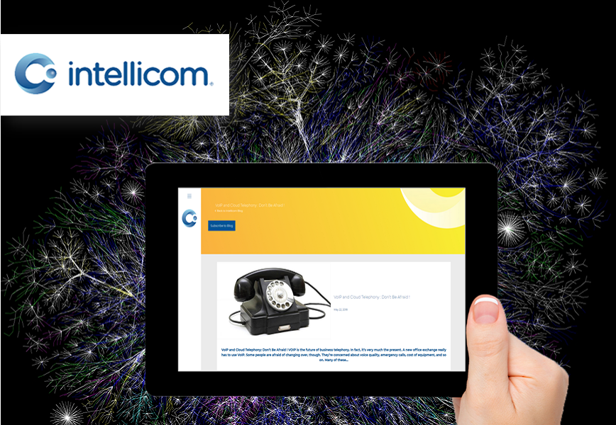 Abstract telecoms background with tablet showing blog inbound marketing from Intellicom