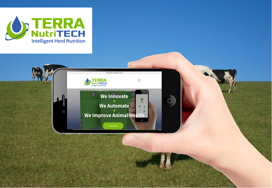 Terra NutriTech website shown on mobile device with agri background reflecting inbound marketing work done by Brandfire