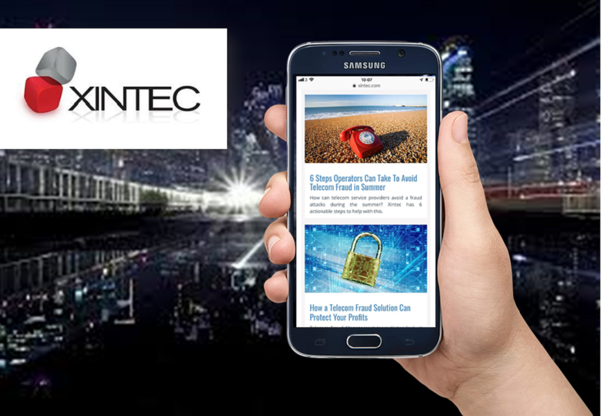 Hand holding smartphone showing blog posts reflecting Xintec Inbound Marketing